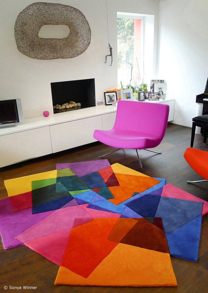 multi-color area rug modern