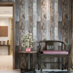 faux wood look modern wallpaper